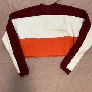 Tri-colored Cropped Sweater